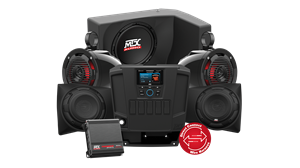Picture of Four Speaker, Dual Amplifier, and Single Subwoofer Polaris RANGER Audio System