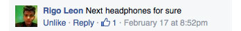 MTX FaceBook Comment my next headphones