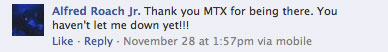 MTX FaceBook Comment haven't let me down